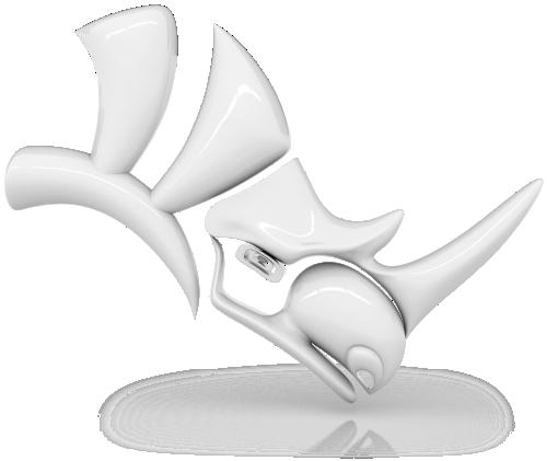 A 3D model of a rhino head representing the Rhinoceros3D logo.
