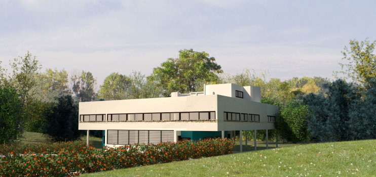 View of the Villa Savoye project with its green area around created with Lands Design.
