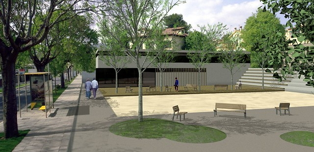 Public space project created with Lands Design for a public space with play area, benches and trees.