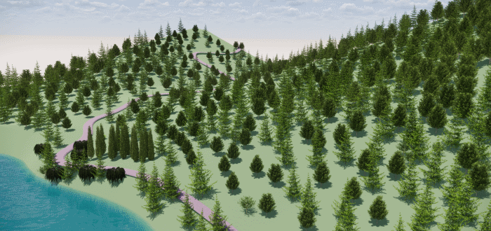 A model of low hills populated with a forest in front of the sea created with Lands Design.