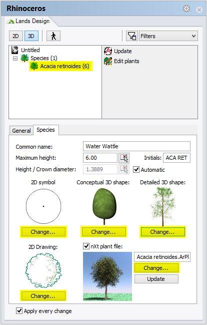 Changer les types de représentation 2D et 3D