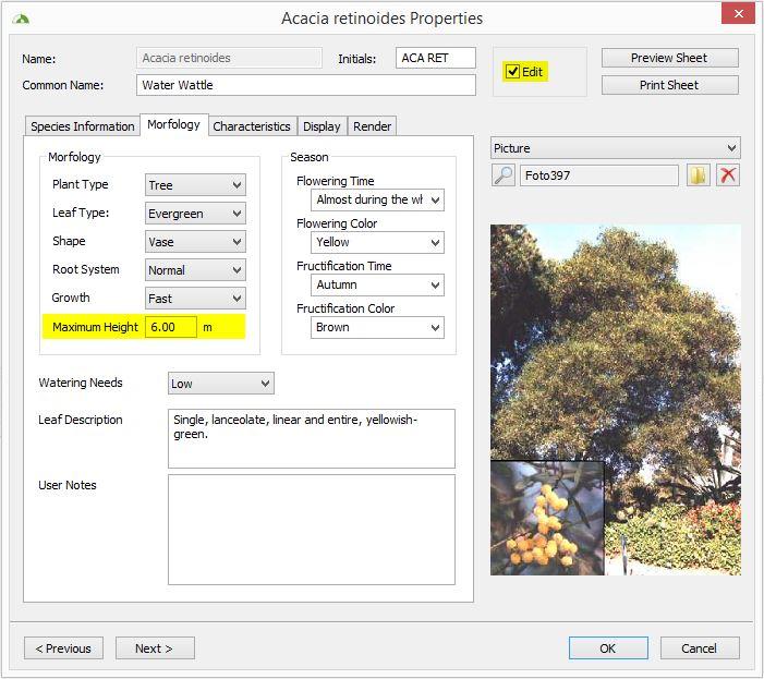 Lands Plant Database maximum height
