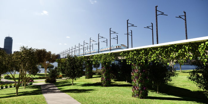 View of a viaduct covered with vertical gardens created with Lands Design.