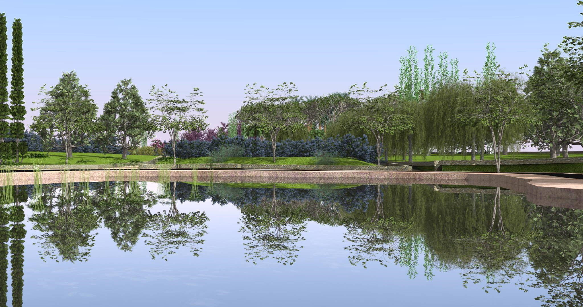 Lands Design project of a pond surrounded by a park with a pathway in front of the water.