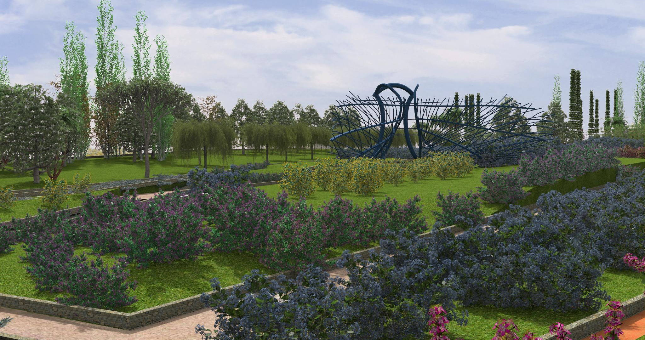 Lands Design project of a park with pathways, green areas and a big blue art structure.
