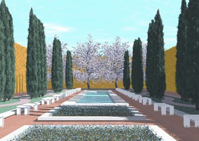 Garden with cypresses