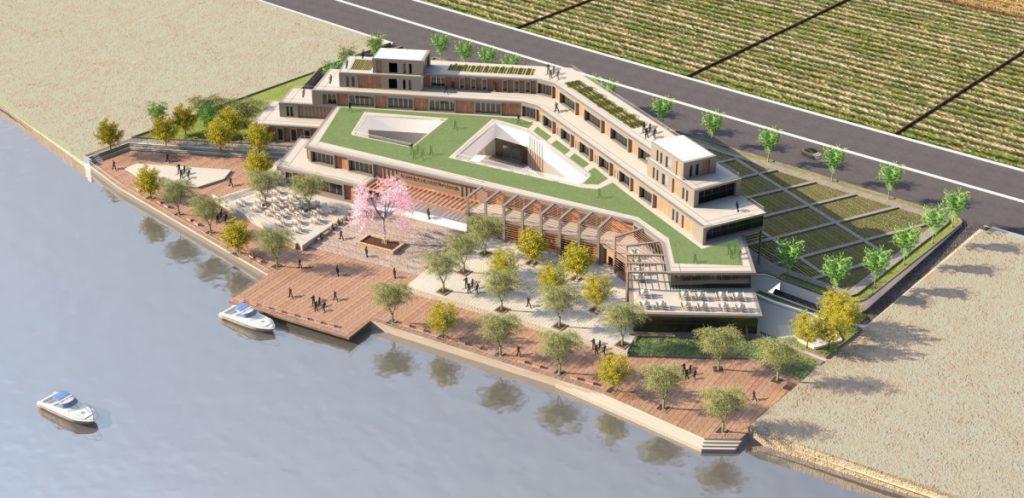 Gerenderte Luftansicht des Agriculture Educational and Culture Center, ein mit Rhino und Lands Design erstelltes Modell von Amr Lail