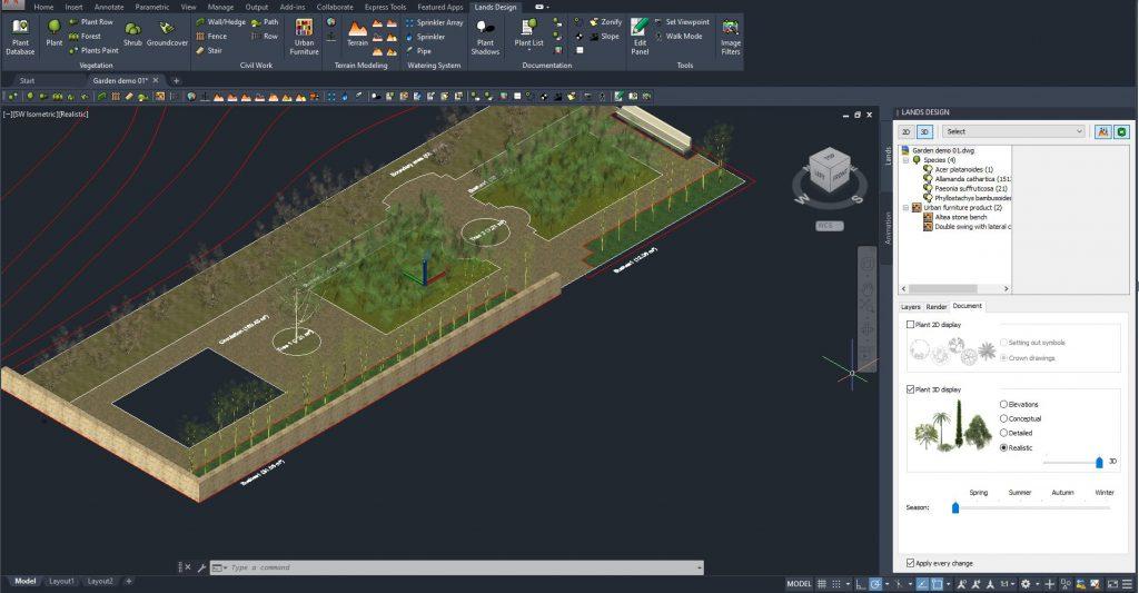 AutoCAD con un progetto di Lands Design su un giardino visto in assonometria renderizzata.