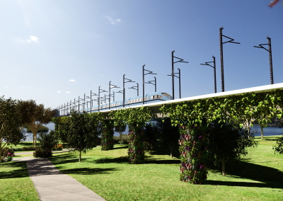 Viaduct with vertical garden