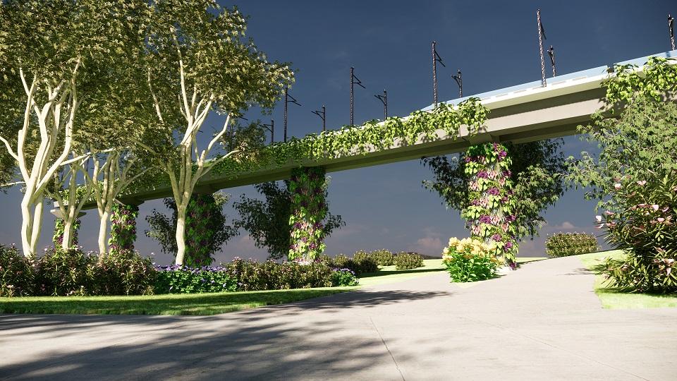 Il giardino verticale progettato con la rappresentazione verticale fornita recentemente da Lands Design.