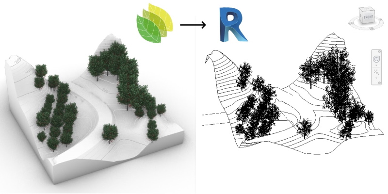 Two 3D models of a terrain with trees, on the left Lands Design and on the right the same model in Revit to demonstrate the integrations between the two software.