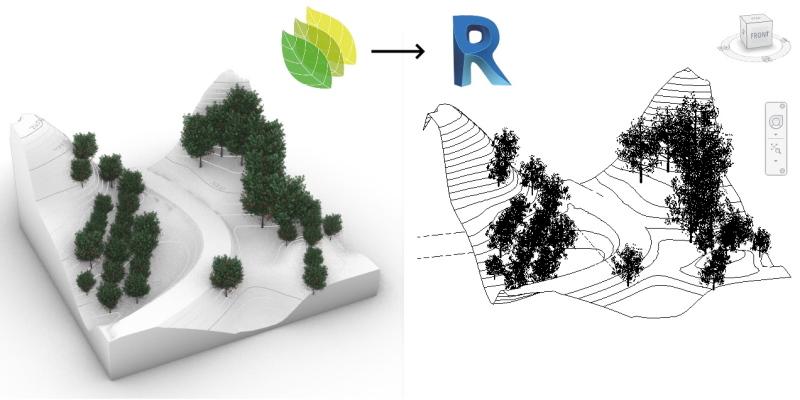 Zwei 3D-Modelle von Geländen mit Bäumen, links Lands Design und rechts das gleiche Modell in Revit, zur Demonstrierung der Integration beider Softwares.