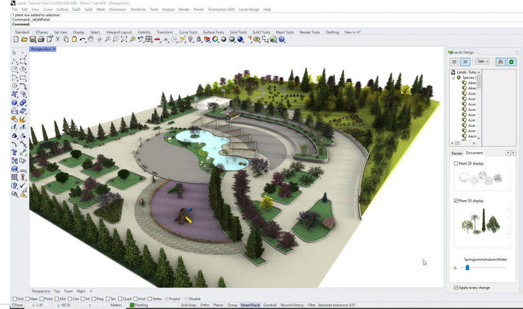 Vista dell'interfaccia di Rhino 7 con il modello di un parco creato con Lands Design.