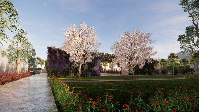 Blooming trees in an industrial site