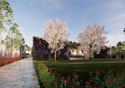 Theme garden for a factory